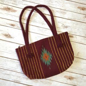 Handbags - Vintage VTG Navajo Wool Art Boho Braided Handbag